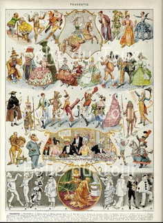 DRESSING-UP CLOTHES - Fancy Dress poster illustration from a Vintage French Larousse Dictionary poster 1939. $24.00, via Etsy.