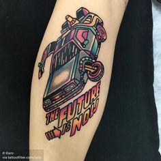 Delorean Tattoo by Pop Art Tattoos, Car Tattoos, Love Tattoos, Black Tattoos, Tattoos For Guys, Ufo Tattoo, Tattoo You, Back To The Future Tattoo, Dinosaur Tattoos