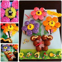 Pull Apart Flower Pot and Garden Bug Cupcake Cake