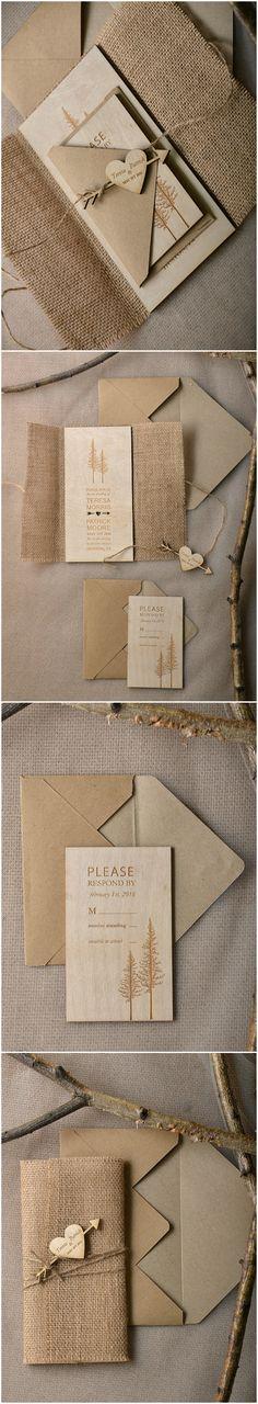 Wooden Wedding Invitations - Tree engraving #rustic #country #barn #weddingideas…