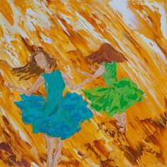 """12""""x12""""(30cm x 30cm) Two Ladies Dancing, """"Happy Together No. 2"""", Oil on Canvas Palette Knife Painting by Colors Of Cynthia Christine. I really enjoyed painting the skirts on these two happy ladies. The energy of movement and free flowing strokes emulate the joy I experience while painting them. I hope you enjoy the overflowing happiness of these two friends!"""