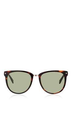 Dark Tortoiseshell Acetate And Metal Sunglasses by Bally for Preorder on Moda Operandi