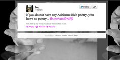 Our first Everyday Tweets is a tribute to poet Adrienne Rich http://www.tweetspeakpoetry.com/blog/2012/04/02/everyday-tweets-adrienne-rich/ #poetry