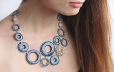 Blue Textile Necklace. Unique Blue Metallic Textile Circles and Beaded Elements Elegant Statement Necklace