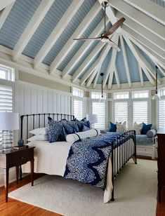 Southern Studio Interior Design | Beautiful Master Bedroom. I want this blue and white bedspread!