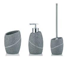 Bringen Sie ein Stück Natur direkt in Ihr Badezimmer!  Durch die moderne Naturstein-Optik lässt sich das Bad-Set mit vielen Einrichtungsstilen kombinieren.  Das Bad-Set umfasst eine WC-Garnitur, einen Seifenspender und einen Zahnbürstenhalter. #Set #Badartikel #Bad #Stein #Klobürste #Becher #Seife #Seifenspender
