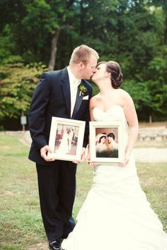 Bride and groom kissing and holding pictures of parents at their weddings. ~ Pshhh I wish :(