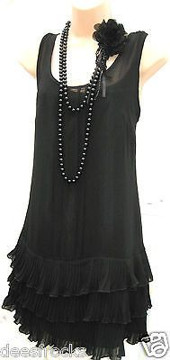 SIZE 8 20'S CHARLESTON DECO FLAPPER GATSBY STYLE DRESS ♥ US 4 EU 36