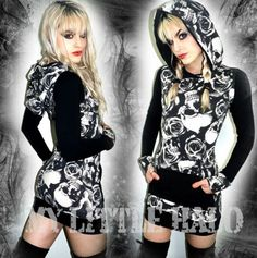 Skulls n Roses Hooded Dress Top-(Regular & Plus size) by My Little Halo