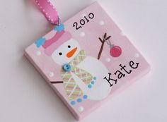 3x3 Canvas Christmas Ornament   Personalized by threedoodlebugs, $7.25