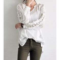 Stylish V-Neck Long Sleeve Solid Color Spliced Women's Blouse, WHITE, ONE SIZE(FIT SIZE XS TO M) in Blouses | DressLily.com