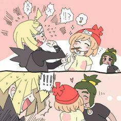 Wanna pocky me? Gladion: N-N-NOO! Hau: alright I do it!
