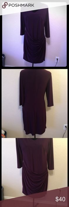 Gorgeous Ralph Lauren Plum Drape Front Dress Simply stunning!  Classic, clean, Ralph Lauren. 3/4 length sleeves. Higher V neck. Sleek back. Darts at bust. Fully lined. EUC - like new. Smoke free home. Machine washable. Perfect day-to-evening wear. Ralph Lauren Dresses Midi
