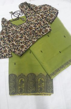 Make an Awesome choice by picking this beautiful chettinadu sarees, perfectly coordinated with kalamkari blouse...  Rs 1580/  (for trade inquiries please contact our whatsapp no  Single / Retail Customer ...please contact 8099433433 B2B/Resellers/Bulk buyers...please contact 8801302000)