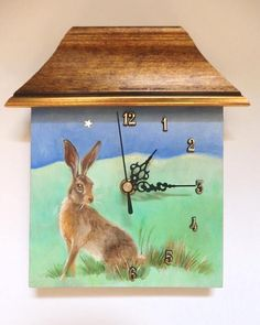 Unique hand painted small wall clock Ready to hang This is funny little wall clock designed and manufactured by artist Przemila Koscielna (P.Pizl)  The clock face is an ORIGINAL OIL PAINTING showing a winter landscape with a hare. #hare #wildlife #painting #handmade #miniature #clock #wallclock