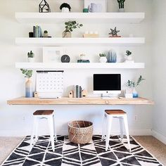 a minimalist home office with IKEA LACK shelves – Home Office Design Diy Ikea Lack Shelves, Home Office Shelves, Lack Shelf, Floating Shelves, Office Shelving, Ikea Wall Shelves, Home Office Decor, Minimalist Home, Home Decor