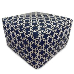 """Navy Blue Links Large Ottoman OttomanDimensions: 27"""" L x 27"""" W x 17"""" HType: IndoorUsage: IndoorPattern: Links Navy BlueMade in: USAZippered Slipcover300/600 Waterproof Denier BaseWeight Capacity: 200 lbsMade in USA, Cotton Removable Slipcover, Spot Clean Only, Waterproof Denier Base, Eco-friendly."""