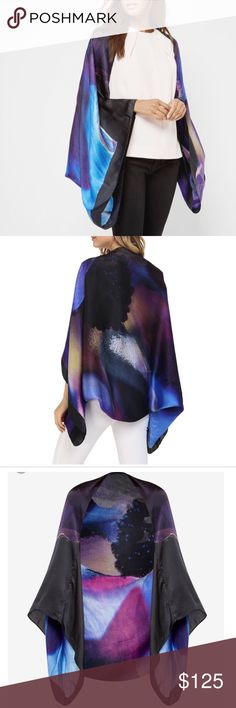 Ted Baker Cosmic Bloom Cape Scarf. Gorgeous 100% silk Cosmic Bloom Scarf/Cape by Ted Baker. Wear as a Cape or fold and wear as a scarf. In perfect condition: NWT. Will look perfect over a cami or over a simple dress. Beautiful colors. Last pictures are the actual item. Ted Baker Other