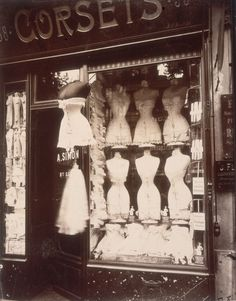 Corsets on display in a store on the Boulevard de Strasbourg in Paris, 1912