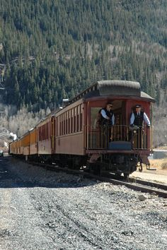 This attractive red and yellow steam train runs on the Durango and Silverton line in Colorado.