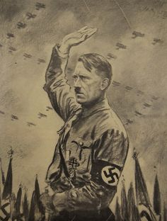 Nazi propaganda art, Hitler with Luftwaffe planes overhead in Swastika formation
