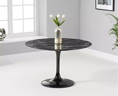 Brighton Round Black Marble Dining Table With Cavello Dining Chairs - Marble Table Dining White Oval Dining Table, Gray Dining Chairs, Round Table Top, Oak Furniture Superstore, Marble Console Table, Marble Effect, Black Marble, Brighton, High Gloss
