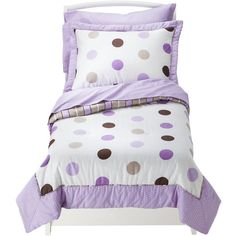 Sweet Jojo Designs Purple Mod Dots 5 pc. Toddler Bedding Set ($100) ❤ liked on Polyvore