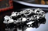 Stainless Steel Skull Wrist Bracelet - 22cm