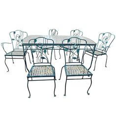 Woodard Chantilly Rose 9 Piece Wrought Iron Patio Set C