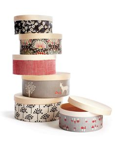 Trinket Keepers   Martha Stewart Living - Transform plain wooden craft boxes into darling keepsake containers while also using up pretty pieces of scrap fabric. Just cut fabric to fit around the box, ending just below the lid, and then decoupage with Mod Podge.