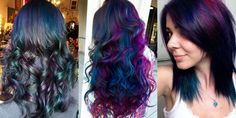 Who said that Brunettes can't have colorful hair? Oil slick technique does it! - The HairCut Web
