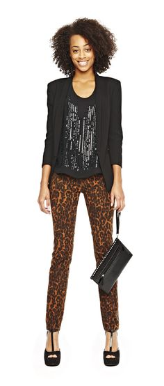 date night look – a.n.a embellished top, jacket and leopard skinny jeans