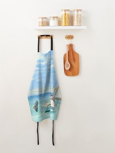 """""""Ground Swell Oil Painting by Edward Hopper"""" Apron by podartist   Redbubble Custom Aprons, Edward Hopper, Marble Pattern, American Artists, White Marble, Oil Painting On Canvas, Blue And White, Kitchen, Cucina"""