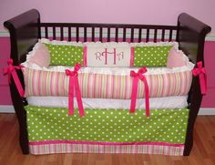Sweet And Feminine Baby Girls Bedding Sets : Adorable Colorful Stripes and Polkadot Baby Girls Nursery Room Decoration in Light Pink and Hot...