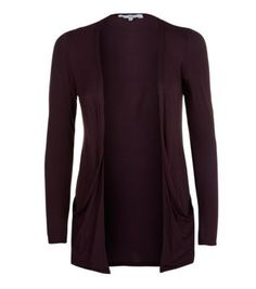 Burgundy Boyfriend Drop Pocket Cardigan