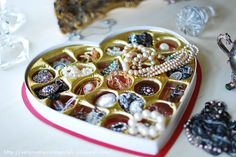 Another reason to eat chocolate! Store your jewelry in a cute old sweets box. Or give as a gift for Valentine's Day! Pre-open the box & fill with beautiful trinkets!