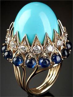 Veschetti ring: 1950 Anello Imperial con turchese Persia, zaffiri e diamanti