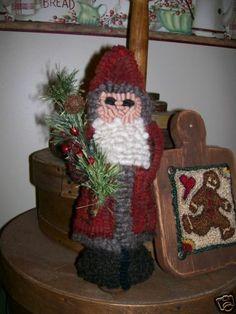 Primitive Rug Hooking Pattern~Chalkware Santa Ornament~Hooked on Primitives