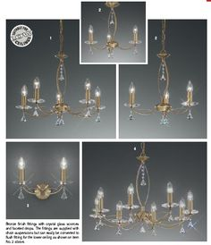 Traditional style lighting ,chandelliers in antique brass.