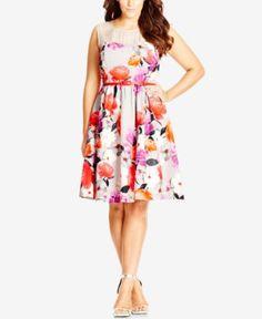 City Chic Plus Size Floral-Print Illusion Fit & Flare Dress - Dresses - Plus Sizes - Macy's