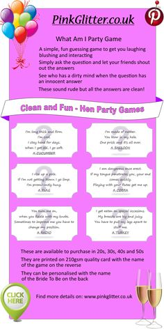 What Am I innuendo game for Hen Parties. See who has a dirty mind when the question has an innocent answer! Individual cards to pop into Party Bags or simply play on the night out. Available on http://www.pinkglitter.co.uk