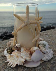 Beach Decor  Nautical Centerpiece  Shell Wreath by JJIlluminations