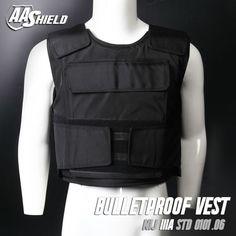 AA SHIELD Bullet Proof  Vest Plate Carrier Aramid Core Ballistic Body Armor Insert Self Defense Supply Level NIJ IIIA  L  Black