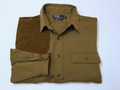 Ralph Lauren Polo L Cagney Wool Shirt Suede Shoulder Elbow Patches Men's #PoloRalphLauren #ButtonFront