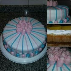 Vainilla cake. Fillings: dulce de leche and peaches with whipped cream. Roses, lines and little balls as decoration.