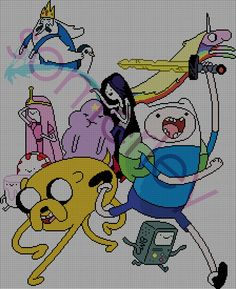 CROSSSTITCH PATTERN Adventure Time Group by somerley on Etsy, $3.50