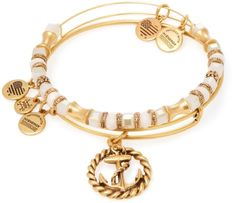 Alex & Ani Women's Seaside Anchor Circle Rope Expandable Wire Bangle Bracelets (Set of 2)