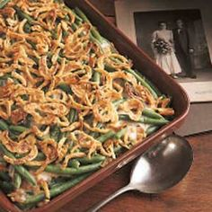 Classic green bean casserole - substitute cream of mushroom with cheddar cheese soup