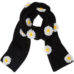 PAPER London Daisy Embellished Scarf ($200) ❤ liked on Polyvore featuring accessories, scarves, black, embroidered shawl and embroidered scarves