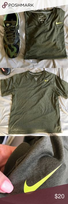 EXCELLENT USED CONDITION NIKE DRI-FIT V-NECK LARGE EXECLLENT USED CONDITION NIKE DRI-FIT VNECK SIZE LARGE MENS.   VERY FEW signs of normal wear. No rips, tears, holes or stains. Soft tee-shirt like material. 100% poly. Heathered olive green with neon swoosh.   SMOKE FREE HOME. Ships same or next day.   All product is 100% authentic and purchased directly from NIKE Nike Shirts Tees - Short Sleeve